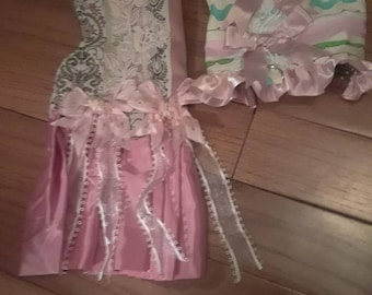 The Pretty in Pink harness dress and pink harness 1 of each 2 for 15 dollars Size xxxsmall made and ready to ship