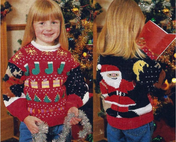 Boys Girls Childrens Christmas Jumper Knitting Pattern 99p Pdf
