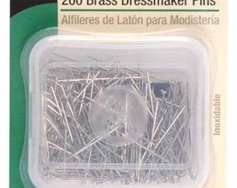 """1 1/4"""" Dritz 200 Brass Dressmaker Pins - 20"""