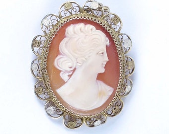 Vintage shell cameo 800 silver filigree gold vermeil carved Victorian style lady