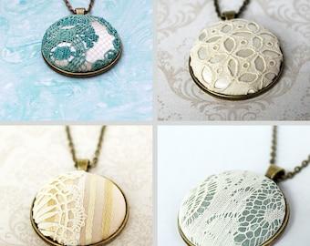 Custom Keepsake Necklace / Memory Bridal Lace Necklace / Keepsake Jewelry / Boho Wedding Lace Necklace