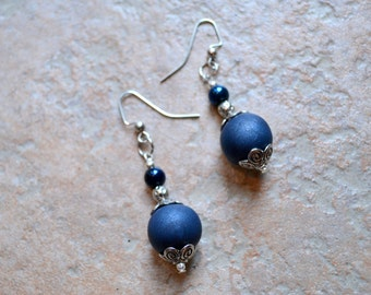 Blue Polymer and Glass Pearl Earrings