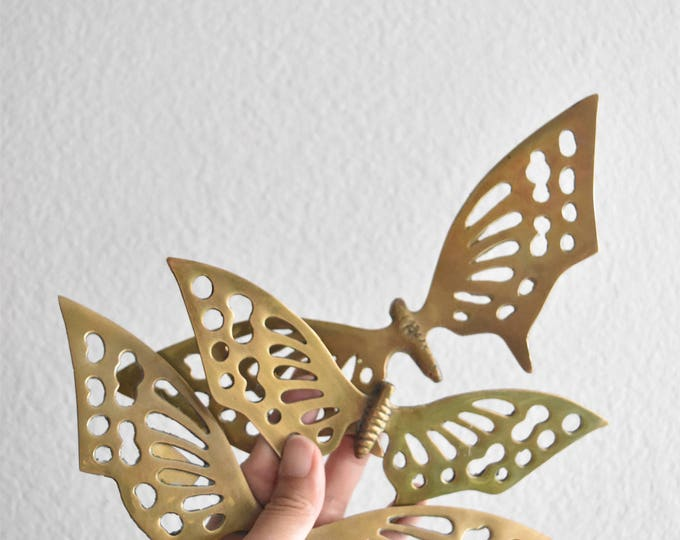 vintage collection of solid brass wall hanging butterfly figurine / set of 3 / nesting butterflies