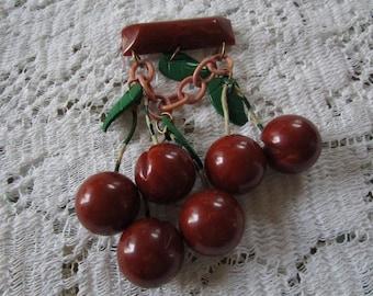 Reduced - Vintage Bakelite Cherry Cluster Brooch