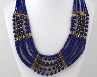Blue Colored Nepali Collar Lori Necklace