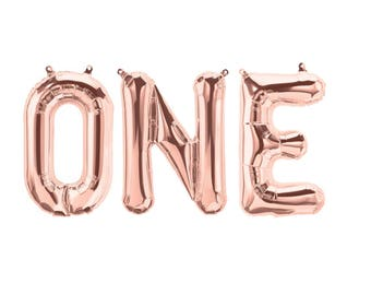 Rose Gold One Balloon, One Banner, First Birthday Balloons