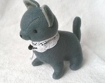 Russian Blue Cat Felt Doll, Kitty Cat Soft Sculpture, Cat Felt Plush for Cat Lovers, Handmade Felt Stuffed Cat