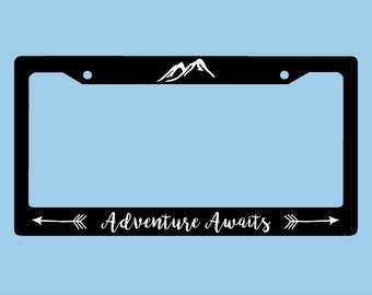 Adventure Awaits License Plate Frame | Mountains Arrows Adventure License Plate Frame | Car Accessories License Plate Art