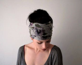 FLORAL Head Scarf, Violet Blue Purple Flower Headband, Boho Hair Wrap, Yoga Hair Accessory, Cotton Blend Floral Pattern Jersey Head Scarf