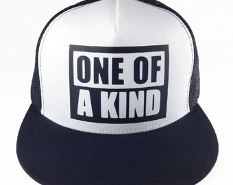 ONE OF A KIND Trucker Hat Black and White - Adjustable Back, Flat Bill, Mesh Back, Unisex, K-pop Style, High Profile