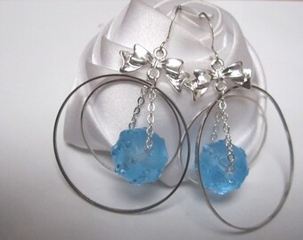 small earrings mix of blue beads