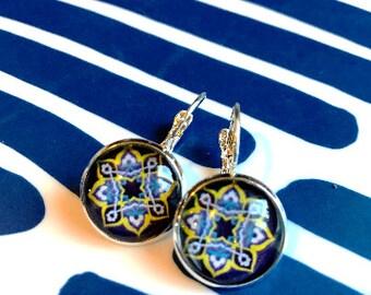 Mandala cabochon earrings- 16mm