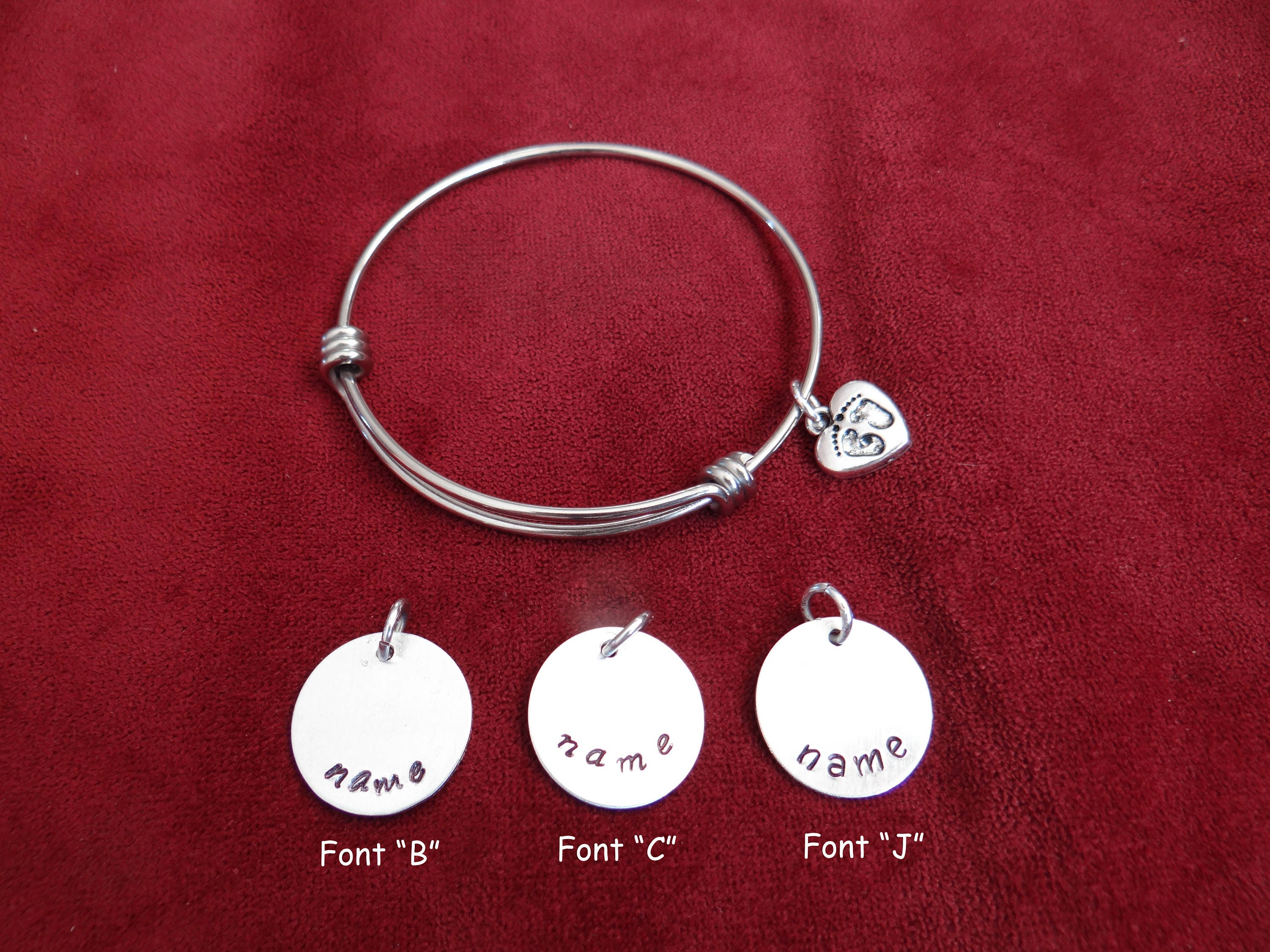 Charm bracelet personalized gift for mom baby footprints request a custom order and have something made just for you negle Images