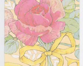 Vintage 1980s gift enclosure card by Current -- pink rose with yellow bow
