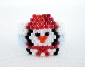 Penguin Ring  / Peyote Ring / Seed Bead Ring /  Beaded  Ring / Christmas Ring / Winter Ring / Size 5, 6, 7, 8, 9, 10, 11, 12, 13