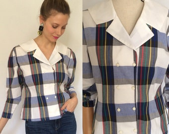 1980's cotton blouse, Checked blouse, Cotton blouse, Double breasted blouse.