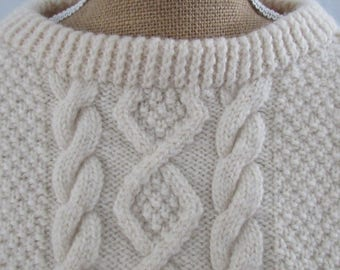 Cable Knit Sweater, Vintage Wool Sweater, Ivory 100% Wool, Made by JENNERS, Made in Edinburgh, Fisherman Jumper