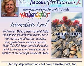 Ascone Intermediate Watercolor Tutorial-Mighty Cliffs