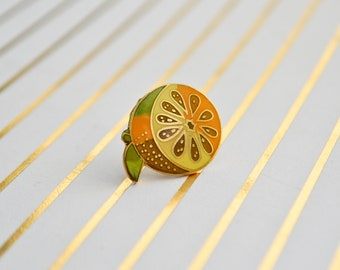 Vintage Orange Pin - Enamel Pin - Vintage Lapel Pin - Cloisonné Pin - Pin Game - Fruit Pin - Tie Pin - Pin Badge - Hard Enamel Pin