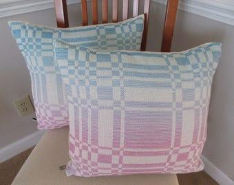 "Handwoven 20"" Sofa Pillow in Fuchsia & Turquoise"