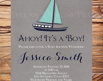 Nautical Baby Shower Invitation boy, Sailboat Boy Shower, Navy, Teal, Nautical Baby Boy Shower Invitation, Sailboat Baby shower Boy, 1419