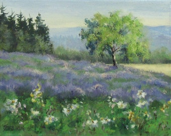 Lavender Morning 1 - Original flower field landscape painting