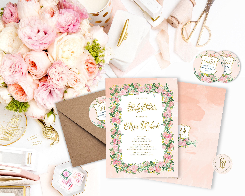 Watercolor floral invitation - baby shower invitation - Peach floral ...