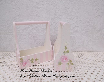 Two Piece Set, Hand Painted Small Wood Tote Boxes, Gift Set, Shabby Chic Cottage Roses, Pink, Blush, ECS