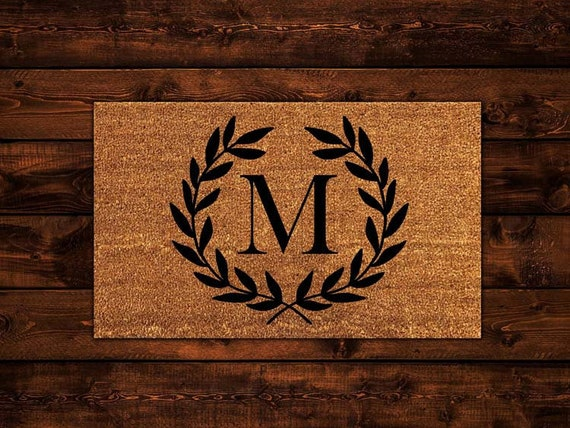& Monogram Wreath Doormat Initals Doormat Wedding Gift