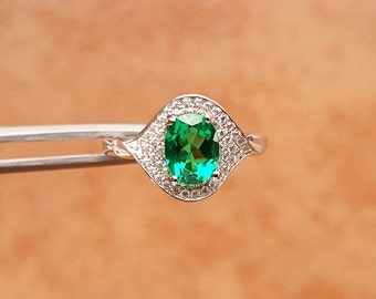 Green Emerald Ring, Emerald Gemstone Jewelry Ring For Women, S925 Wedding Ring, US Size 8