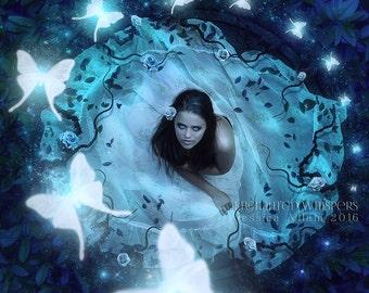 fantasy art, fantasy picture, fantasy decor, fantasy print, butterfly print, butterfly decor, magical art, surreal print, surreal art, blue
