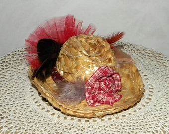Red Cowgirl Hair Bow Fascinator Mini Hat on a French Clip, Tulle, Feathers and Handmade Rose on Straw Hat