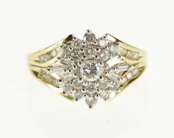 14k 1.00 Ctw Ornate Diamond Cluster Encrusted Ring Gold