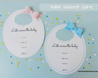 Kit Baby Shower Game / Baby Bib Game  / Name the Baby/ Party Game / Baby Shower Game IDEAS / Shower game Boys Girls