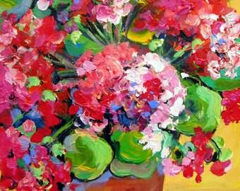 Geraniums Original Painting canvas art 11 x 14 Art by Elaine Cory