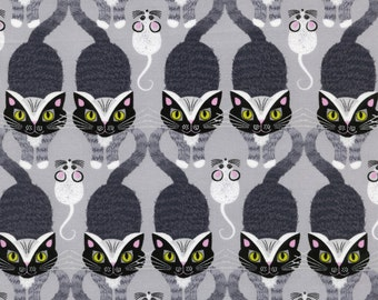 Cat And Mouse (C9622-GRY) 100% Cotton Fabric by Timeless Treasures-1 Yard Cut