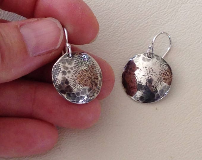 Sterling silver disk earrings dangle hand cut hammered domed and oxidized