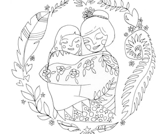 Printable Art -Colouring Sheet - Worlds Best Mum - Adult Colouring - Digital Art - Downloadable - Relaxation gifts and Creative Gifts - Love