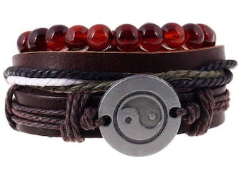 Yin Yang Charm And Red Beads Bracelet Set