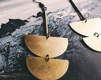 drop dangle brass earrings   half circles half moons lunar    brass earring    simple everyday jewelry   brass jewelry   portland oregon