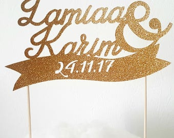 Cake decoration-2 names + & + date - glittery gold cakeTopper - wedding