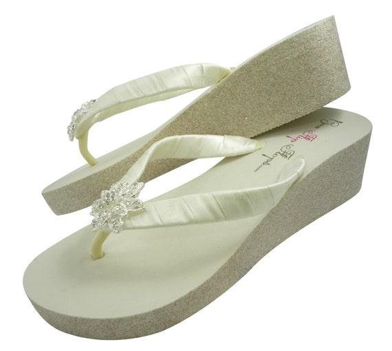 d47a23e34261c ... Sandal inch 2 the Silver Champagne heel Ivory Bridesmaid Heel Flops  Glitter Bride Flip Gold Flower ...