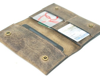 distressed leather phone case and card wallet - phone sleeve slim wallet - retromodern leather wallet