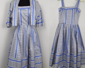 1950s 1960s Cotton Dress and Bolero Set - UK 6