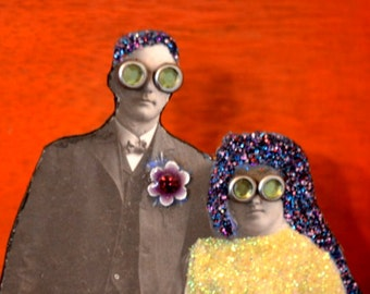 Altered Vintage Wedding Photo. Mixed Media Assemblage Art. Bride and Groom. Orange Industrial. Gears.