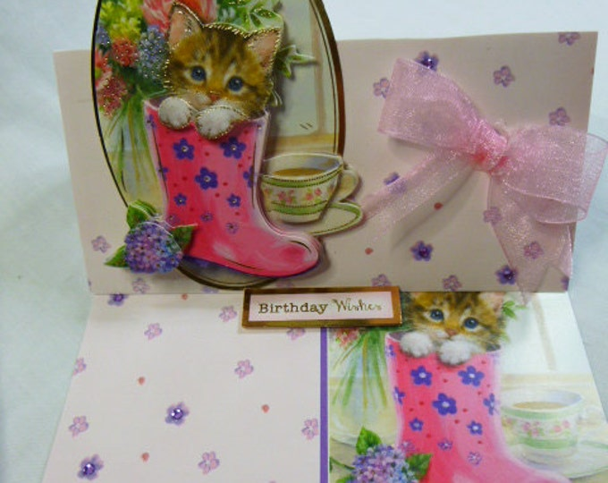 3 D Decoupage, Birthday Card, Greeting Card, Female, Any Age, Easel Card, Kitten in Boot, Pink Bow, Mum, Daughter, Sister, Niece, Aunt