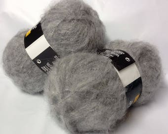 10 balls of wool mohair / gray / made in France