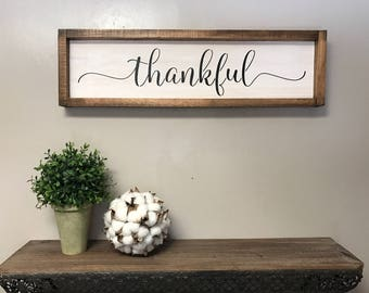 entry way decor. Framed Thankful Sign fixerupper house Modern farmhouse decor entryway entry  Entryway Etsy