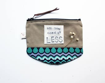 CUSTOM QUOTE sustainable accessories mindfulness zipper pouch inspirational quote coin purse eco friendly gifts for her under 20