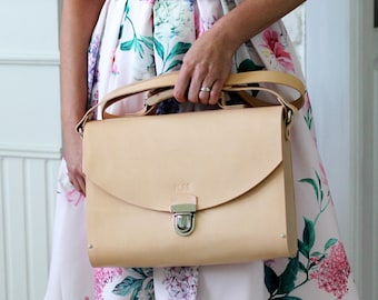 Leather handbag MAXI SATCHEL NATURAL